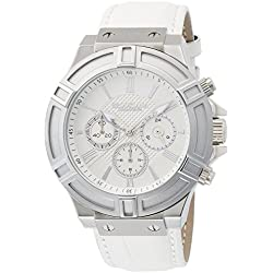 BROOKIANA Thunderbolt Chronograph Silver ~ White Leather BA2308-SVWH Men's Watches