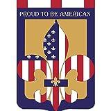 Proud to Be American Fleur de Lis 42 x 29 Shield Shape Applique Tab Top Large House Flag