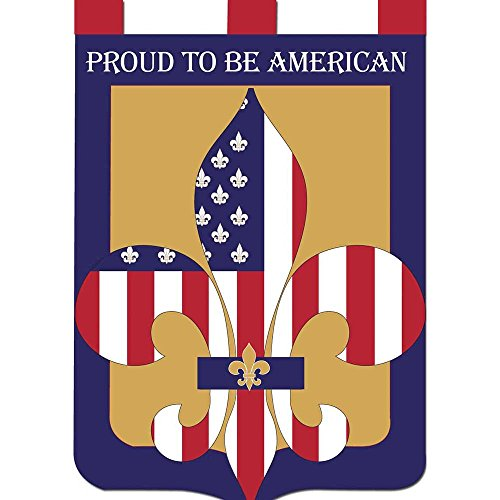 Proud to Be American Fleur de Lis 42 x 29 Shield Shape Applique Tab Top Large House Flag
