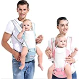 YHOutdoor Baby Carrier, 360° Ergonomic Convertible Carrier for Baby, Pure Cotton Breathable Multi-Functional Baby Waist Stools, for All Seasons (Green)