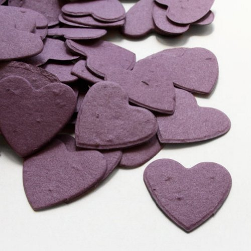 Heart Shaped Plantable Seed Confetti in Purple Value Pack (two 350 piece bags = 700 pieces of seed confetti) by BPW Eco Friendly Confetti