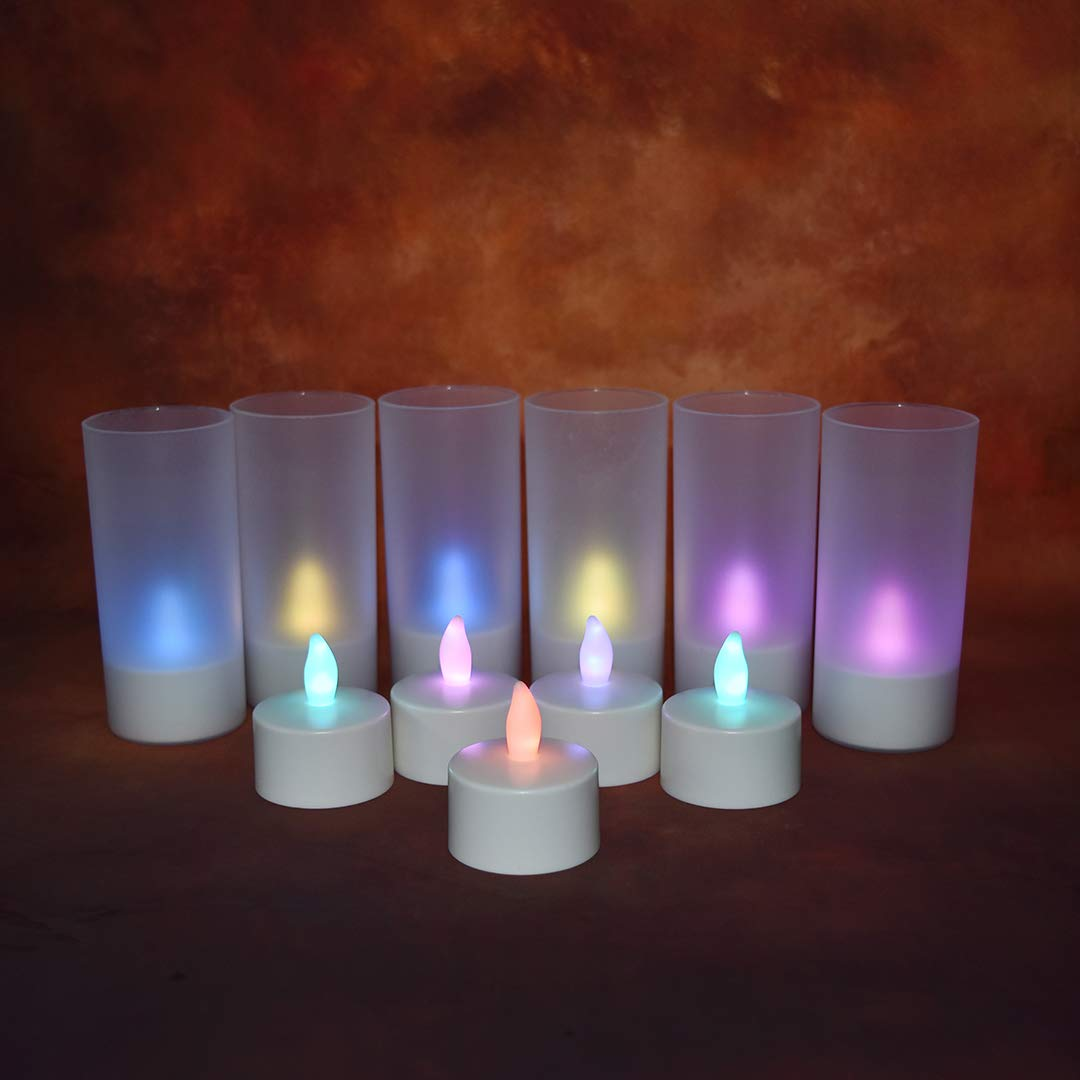 Safe Dc Rgb Light Rechargeable Tea Candles12pcs Led Candle With Realistic Flicker And Circuit Board Style Timer 18key Remote Control Holders 2a 35hours Charging Base Flameless