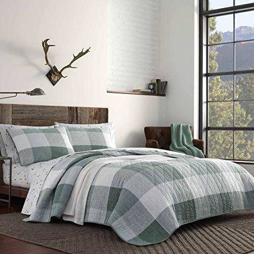 Eddie Bauer Boulder Plaid Quilt Set Full/Queen Pastel Green (Green Dark Quilt)