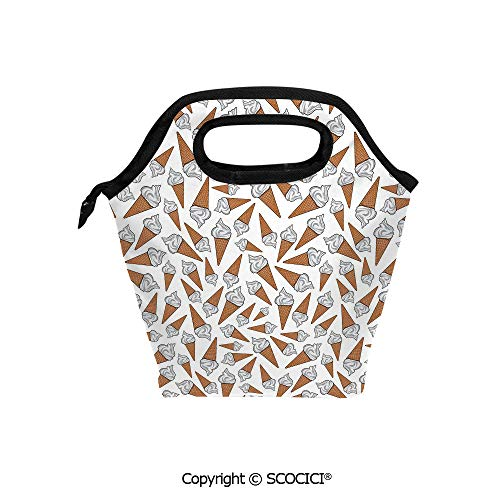 - Printed Pattern Portable Lunch Tote Bag Takeaway Vanilla Ice Cream Gelato Background Yummy Desert Scoop Image insulation cold outdoor picnic lunch box bag.