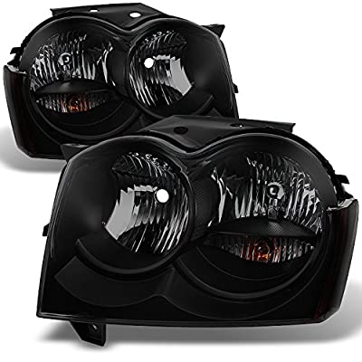 Jeep Grand Cherokee Replacement Headlights Driver/Passenger Black Head Lamps Pair New