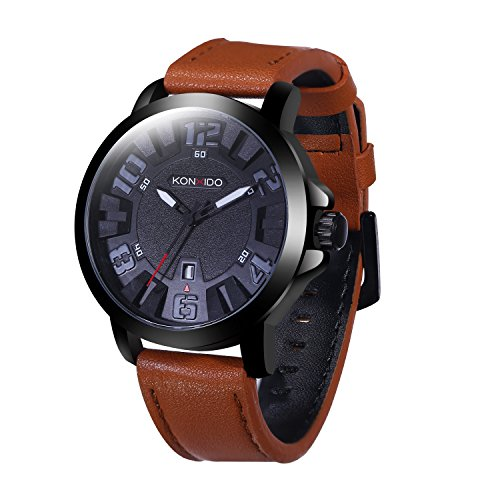 Mens Leather Wrist Watch Leather Strap Analog Quartz Classical Casual Watches for Men, Teens, Boys, 30M Waterproof, MIYOTA Movement, Auto Date Brown