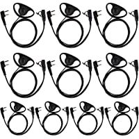 Tenq 10pack D Shape Earpiece Headset PTT for Kenwood Puxing Wouxun Baofeng Two Way Radio Walkie Talkie 2pin