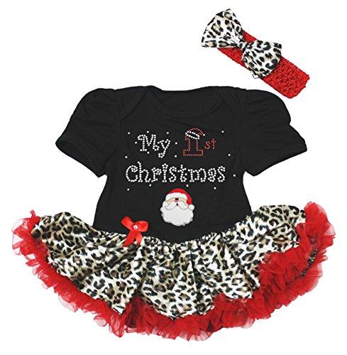 My 1st Christmas Baby Dress Santa Claus Black Bodysuit Leopard Tutu Set Nb-18m (6-12month) ()