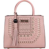 Nicole Lee Anouska Braided Intricate Cut-Out Design Satchel (Pink)