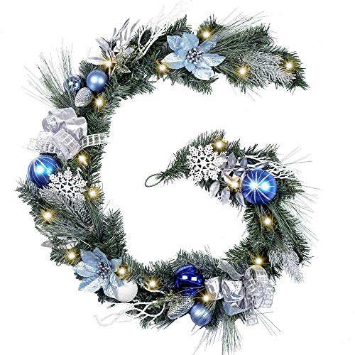 Pre-Lit Silver and Blue Christmas Garland