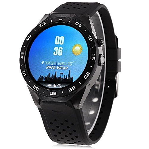 KingWear KW88 Android 5.1 1.39 inch Amoled Screen 3G Smartwatch Phone MTK6580 Quad Core 1.39GHz 512MB RAM 4GB ROM GPS Gravity Sensor Pedometer (Black)