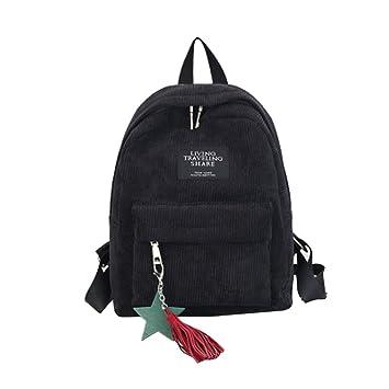 👜 Bolsa Mochila De Lona Bolsas De Viaje Mochilas Escolar Bags (Black, 25cm(L)*9cm(W)*32cm(H)): Amazon.es: Equipaje