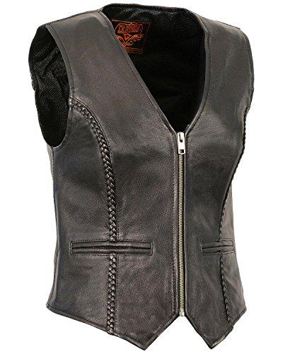 Milwaukee Leather Women's Lightweight Zipper Front Braided Vest 5X Black 5X
