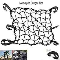 BUNKER INDUST 16 x 16 Heavy Duty Bungee Cord Cargo Net Stretches to 30 x 30-Latex Truck Bed Mesh,Luggage Net with 6Pcs Free Adjustable Hooks for Motorcycle Bike Paddleboard Quad Canoe Moped ATV