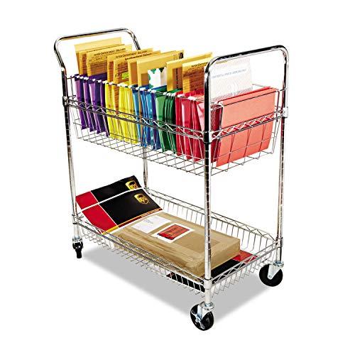 Chrome Mail Cart - ALERA MC343722CR Carry-all Cart/Mail Cart, Two-Shelf, 34-7/8w x 18d x 39-1/2h, Chrome