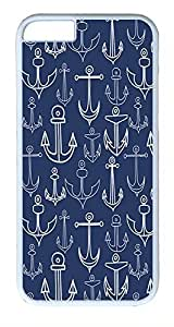 IMARTCASE iPhone 6 Case, Chevron With Anchor Navy Background iPhone 6 Case TPU White