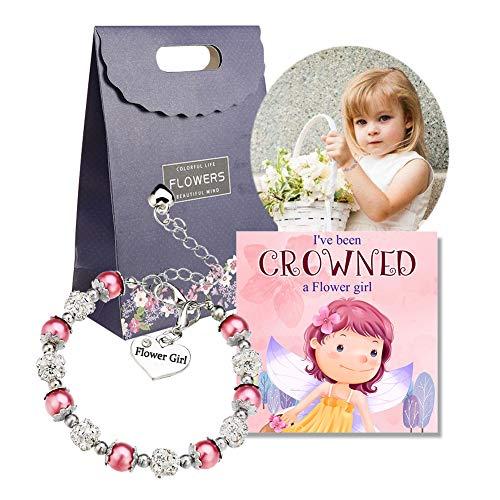 OFGOT7 Flower Girl Bracelet Wedding Party Charm Heart Pendant Rhinestone Crystal Balls Faux Pearls Gift - Flower Crystal Girl Bracelet