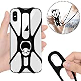 Doormoon Phone Lanyard, Rotation Strap Holder for iPhone Lanyard Detachable Neckstrap with Ring Stand Universal for Smartphone iPhone 8,7,6S Plus,Samsung Galaxy 4.0-6.5 inch (Black)