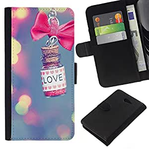 KLONGSHOP // Tirón de la caja Cartera de cuero con ranuras para tarjetas - luces amor desdibujan rosa significado valentín - Sony Xperia M2 //