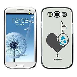 Caucho caso de Shell duro de la cubierta de accesorios de protección BY RAYDREAMMM - Samsung Galaxy S3 I9300 - I Love Water;