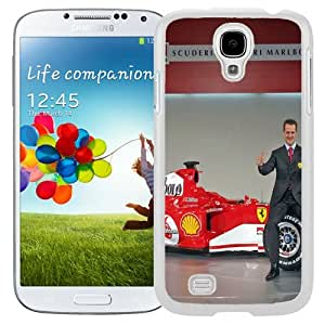 Unique and Fashionable Cell Phone Case Design with Michael Schumacher Ferrari Galaxy S4 Wallpaper in White