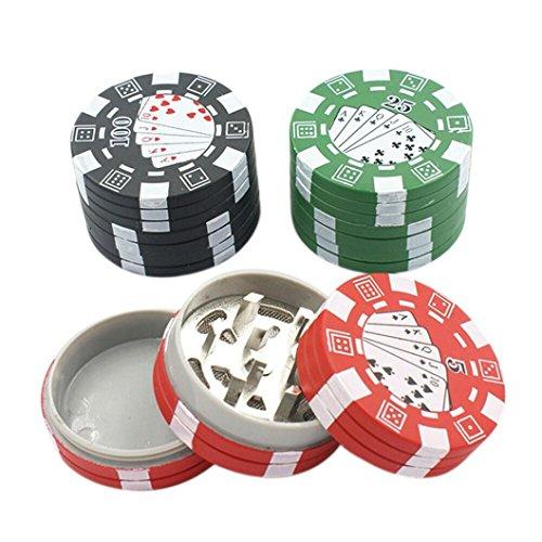 Red Poker Chips Stack 3-Layer Zinc Alloy 3 PCS Tobacco Spice Herb Tea Grinder