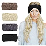 Womens Winter Knitted Headband - Soft Crochet Bow Twist Hair Band Turban Headwrap Hat Cap Ear Warmer (Colorful-K)