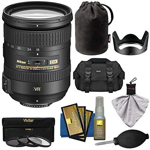 Nikon 18-200mm f/3.5-5.6G VR II DX ED AF-S Nikkor-Zoom Lens with 3 UV/FLD/CPL Filters + Case + Kit for D3200, D3300, D5300, D5500, D7100, D7200 Camera