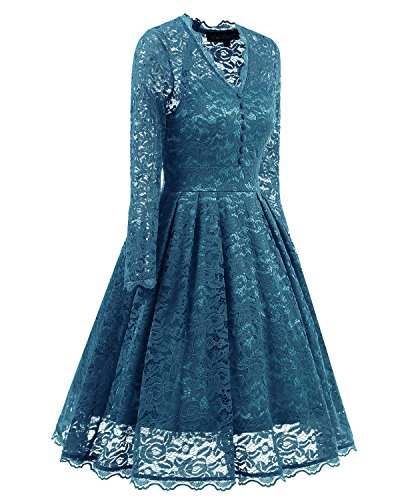 Retro 2017 Formal Floral Dress Vintage Prom Cap Dresses Blue Women's Dresses Lace Party Adodress Swing Cocktail Sleeve Turquoise Short q8EX1v