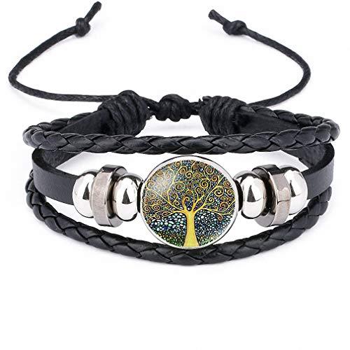 Giwotu Womens New Vintage Colorful Life Tree Art Glass Cabochon Multi-Layer Bracelet Bead Leather Bracelet Men Women Fashion Jewelry 12012702