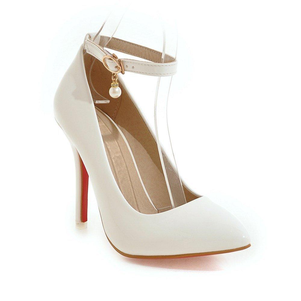 MEI&S High Frauen Spitzen Zehe Stiletto flachen Mund Prom High MEI&S Heels Hochzeit Pumps Pumpen Weiß b543cf