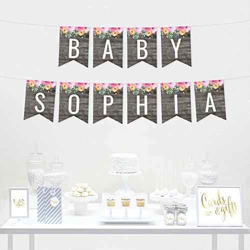 Andaz Press Personalized Modern Gray Wood with Flowers Party Banner Decorations, Baby Sophia, Custom Baby Name, Approx 5-Feet, 1-Set, Baby Shower Floral Colored Hanging Pennant Decor by Andaz Press (Image #1)