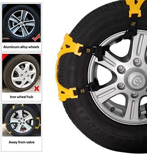 Cadena Antideslizante de Seguridad para Autom/óviles//SUV//Camiones con Guantes y Herramientas de Instalaci/ón Aptas Qomolo Cadenas de Nieve de la Serie 6 T2
