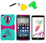 Heavy Duty Hybrid w Kickstand Phone Cover Case Cell Phone Accessory + LCD Screen Protector Guard + Extreme Band + Stylus Pen + Yellow Pry Tool For LG G Stylo LS770 / LG G4 Stylus H631 / LG G Stylo MS631 (S-Hybrid Teal Pink) -  ExtremeCases