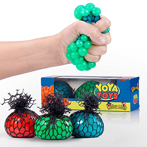 Squishy Mesh Stress Balls by YoYa Toys - 3 Pack - Non Toxic Rubber Sensory Balls - Ideal For Stress & Anxiety Relief, Enhanced Blood Circulation, Special Needs, Autism & Disorders - 2.4 Inches Size (Squishy Mesh Stress Ball)