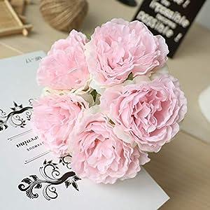 CoronationSun - Big Peony - 5 Heads/Bouquet Peony Artificial Flowers Home Decor Silk Fake Flower Peonies Artificial Flowers for Wedding DIY Decoration 4