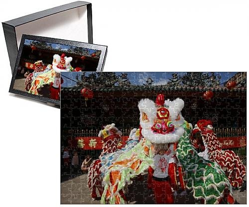 Photo Jigsaw Puzzle of Lion dance performers, Chinese New Year, Quan Am Pagoda, Ho Chi Minh City