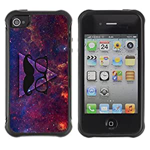 Hybrid Anti-Shock Defend Case for Apple iPhone 4 4S / Awesome Hipster Moustache Triangle