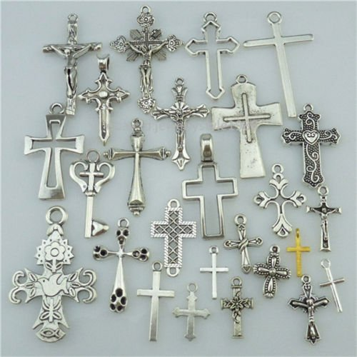 Homemade Rock Costumes Ideas (25PCS MIX Vintage Silver Alloy Faith Religious Cross Pendant Charms Fit Church)