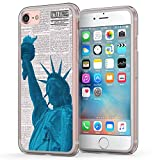 iPhone 7 New York Case, True Color New York Statue of Liberty on Newspaper Printed on Clear Hybrid Cover Hard + Soft Slim Durable Protective Shockproof TPU Bumper
