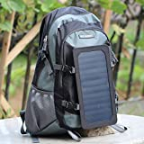 ECEEN 7Watts Solar Travel Backpack, Solar Panel Hiking Bag, Poly Materials, with 10000mAh Power Bank Charge for Smart Cell Phones and Tablets, GPS, eReaders, Bluetooth Speakers, Gopro Cameras etc. (Grey)