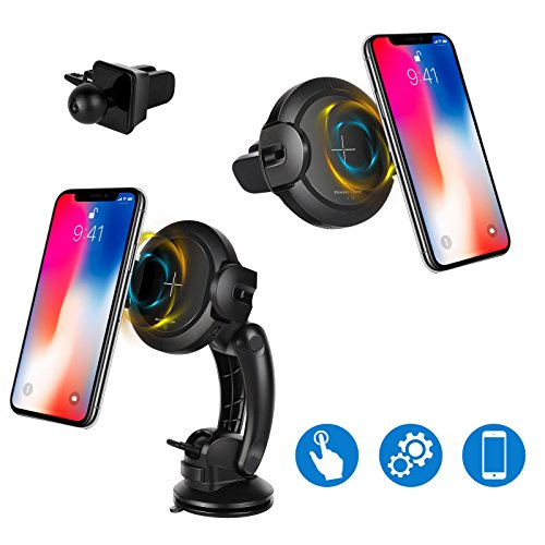 Lio SHAAR Wireless Car Charger, Automatic Infrared Sensor Car Holder Wireless Qi Fast Charger Mount for Samsung Galaxy S8, S7/S7 Edge, Note 8, iPhone X, 8/8 Plus and other Qi Enabled Devices by Lio SHAAR