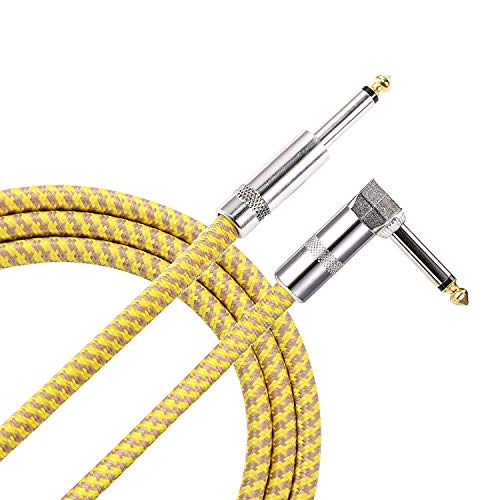 15 ft Guitar Cable Right Angle 1/4 Inch Premium Instrument Bass Cable AMP Cord to Straight for Electric Guitar Bass Keyboard to Guitar Amps(15 Ft Yellow)