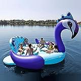 SHIJING Columpio Inflable Gigante de Pavo Real Piscina de la Isla Lago Fiesta en la Playa Barco Flotante Adulto Juguetes…