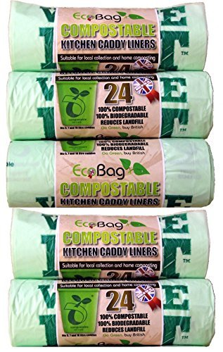 5 x Eco Bag Pack Of 24 Compostable Kitchen Caddy Bin Liners Food Waste Bin Bags 10L