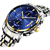 [Patrocinado] Men's Watches Luxury Fashion Casual Dress Chronograph Waterproof Military Quartz Wristwatches for Men Stainless Steel Blue Calendar Date Watch