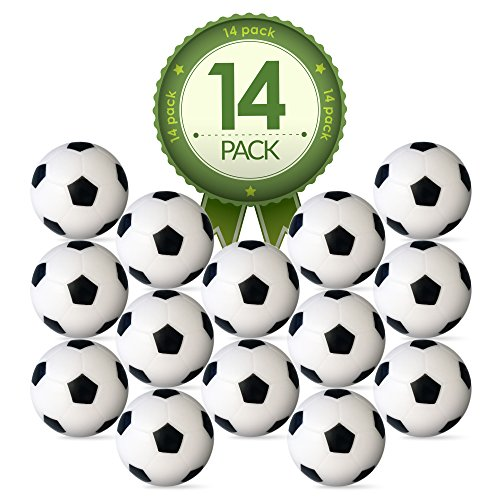 Colonel Pickles Novelties Foosball Table Replacement Foosballs- 14 Pack - 36mm Game Table Size - Black and White Tabletop Soccer Balls