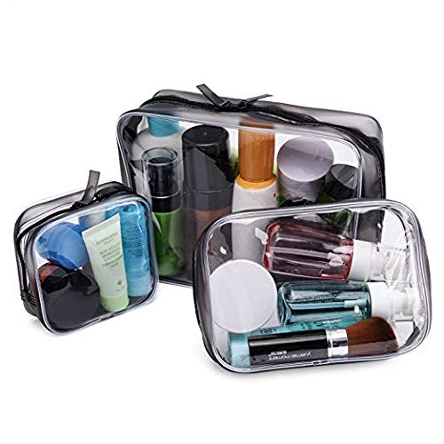 Noverlife 3 Pack Clear Makeup Bags, 3 Size Transparent Cosmetic Bag Case Waterproof Tolietry Travel Bag, TSA Approved Portable Anti-scratch PVC Makeup Storage Pouches Clutch Zipper Bags for Men Women