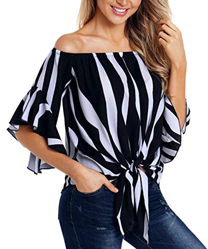 Women's Off Shoulder Bell Sleeve Striped Shirt Knot Tie Front Casual Blouses Tops Black Stripe L