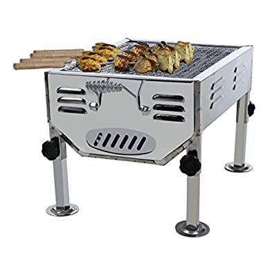 Fabrilla Portable Charcoal Barbeque Grill Set (Silver) 8